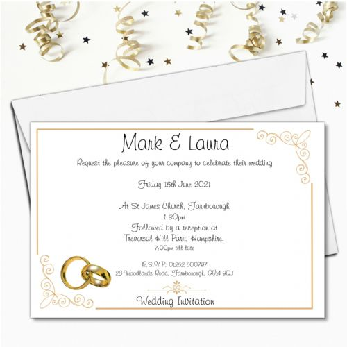 10 Personalised Gold Rings Wedding Invitations Day / Evening N54